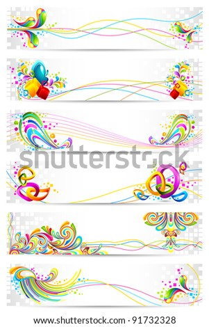 illustration of colorful banner with abstract design - stock vector