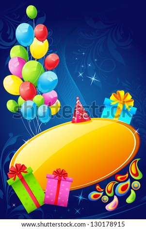 illustration of colorful birthday card with balloons and gift box - stock vector