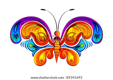 illustration of colorful butterfly in retro style - stock vector