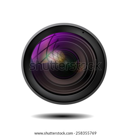 illustration of colorful camera lens on white background - stock vector