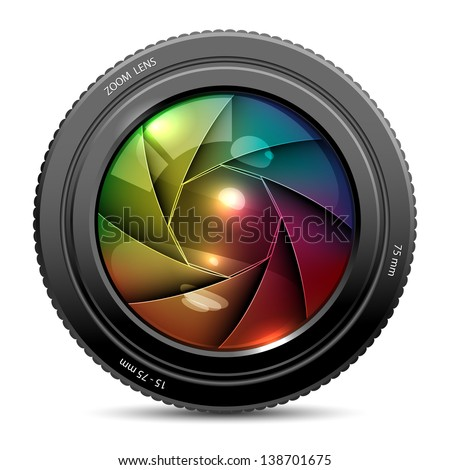 illustration of colorful camera shutter on white background - stock vector