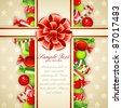 illustration of colorful candies with bow ribbon in card - stock photo