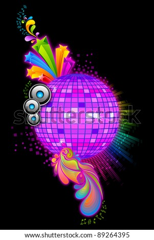 illustration of colorful disco ball with floral swirl - stock vector