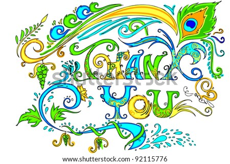illustration of colorful doodle of thank you card - stock vector