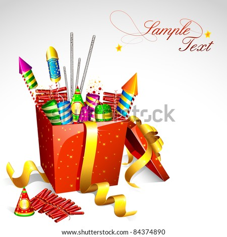 illustration of colorful firecracker in gift box for holiday fun - stock vector
