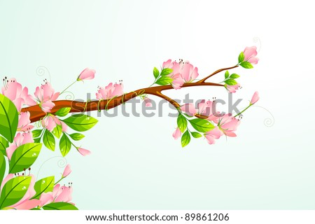 illustration of colorful flower blooming on branch of tree - stock vector