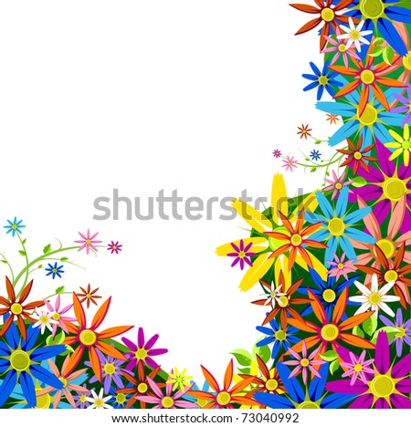 illustration of colorful flower on white background - stock vector