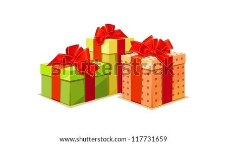 illustration of colorful gift box on white background - stock vector