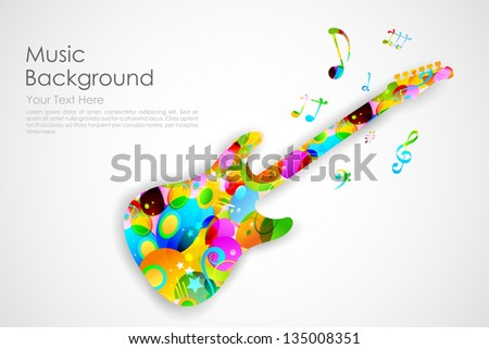 illustration of colorful guitar playing musical tune - stock vector