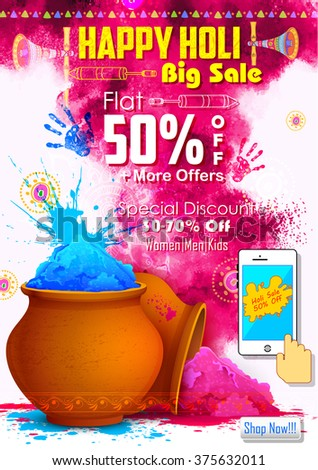 illustration of colorful gulaal (powder color ) for Happy Holi promotional background - stock vector