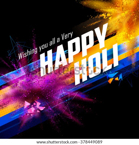 illustration of colorful gulal (powder color) explosion for Happy Holi Background