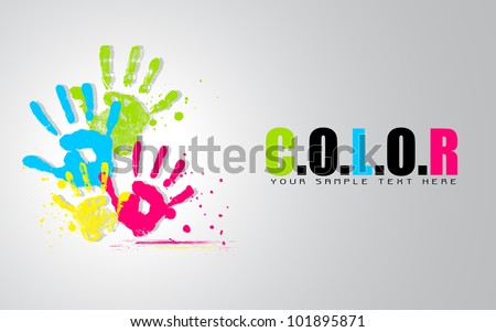 illustration of colorful hand showing colors of life - stock vector