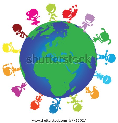 illustration of colorful happy children around the globe - stock vector