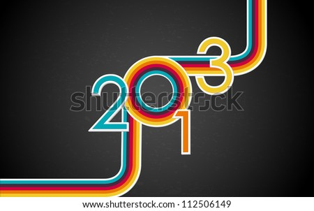illustration of colorful Happy New Year with retro stripe - stock vector