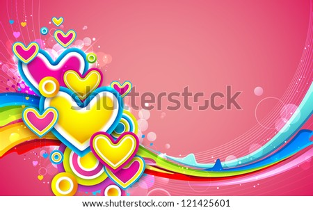 illustration of colorful heart on love card - stock vector