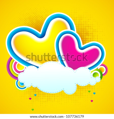 illustration of colorful heart on love cloud - stock vector