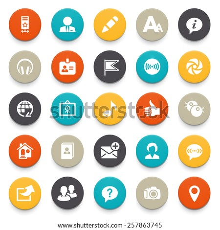 Illustration of colorful icons on a white background.  - stock vector