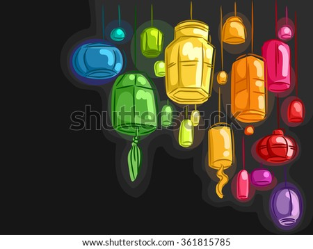 Illustration of Colorful Lanterns Against a Black Background
