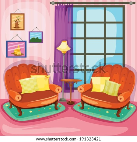 illustration of colorful living room  - stock vector