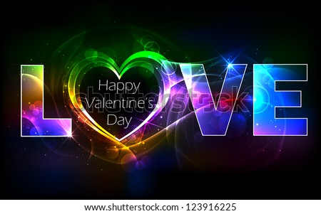 illustration of colorful love background with heart - stock vector