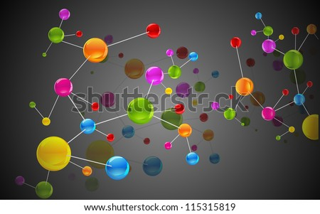 illustration of colorful molecule structure on abstract background - stock vector
