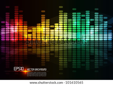 illustration of colorful musical bar showing volume. - stock vector