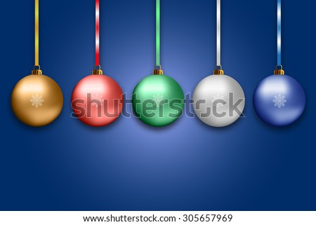 Illustration of colorful new year balls vector illustration - stock vector
