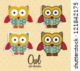 Illustration of colorful owls on white background, vector illustration - stock vector