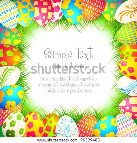 illustration of colorful painted egg in grass as frame of easter background - stock vector