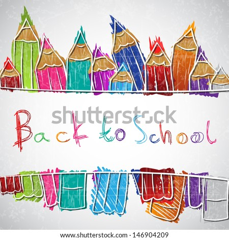 Illustration of colorful pencil set forming background - stock vector