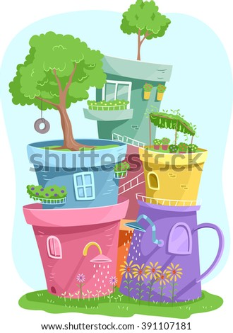 Illustration of Colorful Pots Housing Miniature Gardens - stock vector