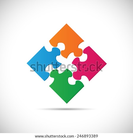 Illustration of colorful puzzle pieces isolated on a white background. - stock vector