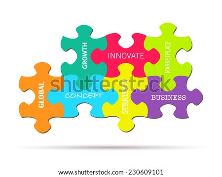 Illustration of colorful puzzle pieces with business concepts isolated on a white background. - stock vector