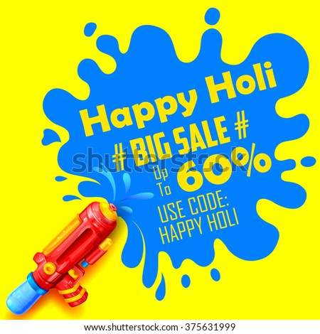illustration of colorful splash coming out from pichkari in Holi promotional background - stock vector