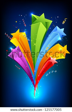 illustration of colorful stars on abstract background - stock vector