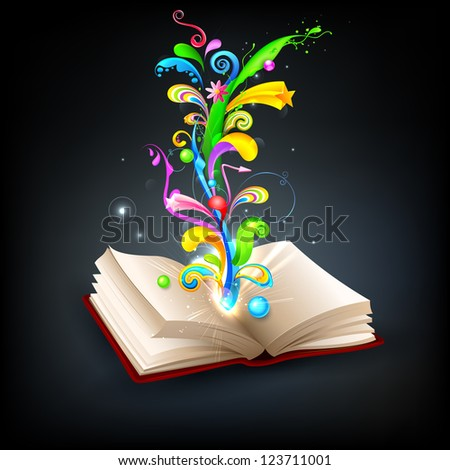 illustration of colorful swirl coming out of open book - stock vector