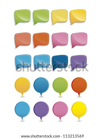 Illustration of colorful text balloons, vector illustration