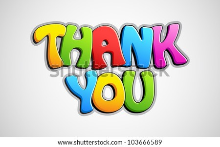 illustration of colorful thank you text on abstract background - stock vector