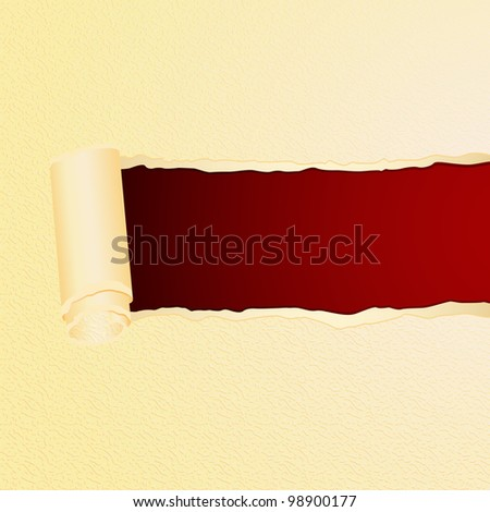 illustration of colorful torn paper on textured background for message