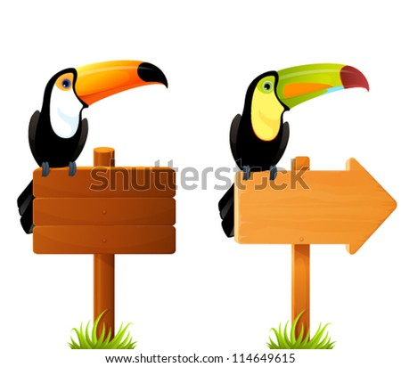 illustration of colorful toucan birds sitting on a blank wooden sign board with classic or arrow shape - stock vector