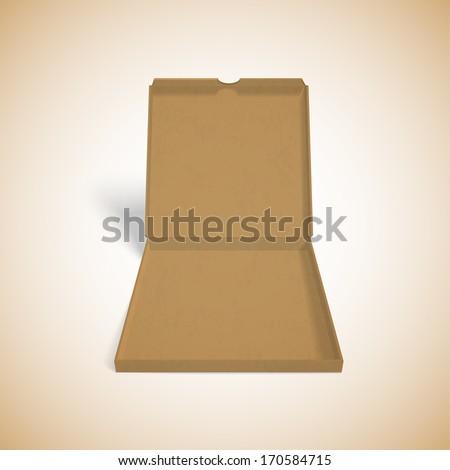 illustration of colorfull open pizza box - stock vector