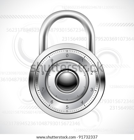 illustration of combination padlock on abstract background - stock vector