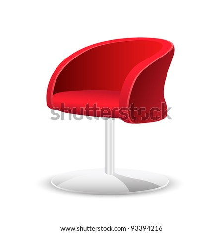 illustration of comfortable trendy chair on white background - stock vector