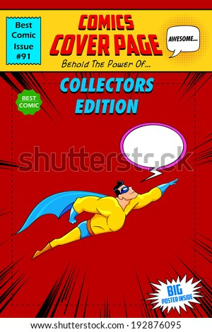 illustration of comic book cover in pop art style - stock vector