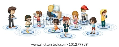 Illustration of communication social networking - stock vector