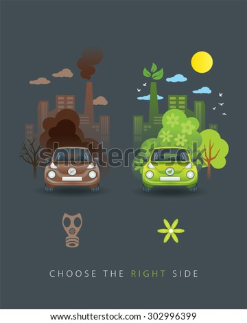 Illustration of comparison between old brown car and new eco car - stock vector