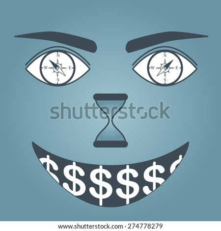 Illustration of compass eyes with time and money concept - stock vector