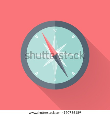 Illustration of Compass flat icon pink and blue - stock vector