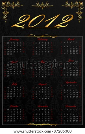 illustration of complete calendar for 2012 in antique background - stock vector