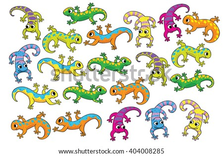 Illustration of Completing the Pattern Educational Task for Preschool Children. Eleven lizards, find extra. Isolated on white background. - stock vector